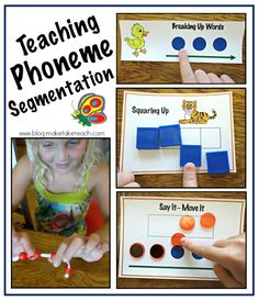4 favorite activities for teaching phoneme segmentation.  Video on the importance of teaching this skill and demonstration of activities. Free printables too!