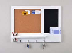 Large White Memo Board Chalkboard and Cork Board Organiser with Hooks, Mason Jar and Mail Holder - Made To Order Kitchen Notice Board, Kitchen Memo Board, Diy Memo Board, Household Organization, Wall Organization, Organizing, Diy Office Desk, Large Chalkboard, Mail Holder