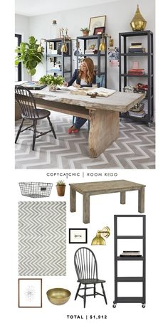 @genevievegorder 's home office featured on @hgtv recreated for less by Copy Cat Chic