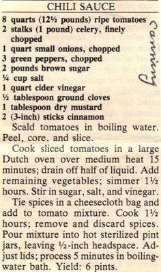 Recipe Clipping For Homemade Chili Sauce Retro Recipes, Old Recipes, Canning Recipes, Vintage Recipes, Chili Recipes, Sauce Recipes, Mexican Food Recipes, Homemade Chili Sauce, Recipes