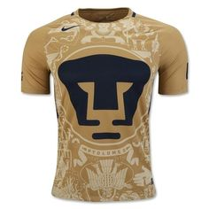 37c44c82e Nike Men s Pumas UNAM 16 17 Home Jersey Stadium True Gold Obsidon Football  Uniforms