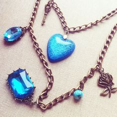 Blue Ocean Necklace Charm Necklace Bib Necklace by lowelowejewelry, $28.00