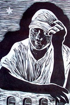 Mirinho, linocut, 20x30cm, ano 2007, artista Maria Lucia Pacheco http://www.marialuciapacheco.com.br/