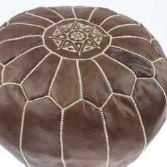 Pouf marocain en Cuir marron
