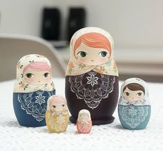 Nesting Dolls-5piece set - Detailed size : The largest doll is 11.5cm, and the smallest doll is 2.5cm Join with my lovely uniquely-designed one-of-a-kind Matryoshka doll! I fashion the Matryoshka dolls with 5 interior nesting dolls in the folk art tradition of Russian Matryoshka dolls,