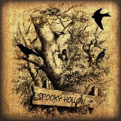 2015 Halloween Spooky Hollow Digital download image forest crow for fabric…