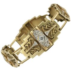 Art Deco Egyptian Revival Link Bracelet. Deco 18K gold Egyptian Revival four link bracelet; circa 1925; 0.80cts total diamond weight, rose cuts