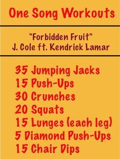 One Song Workout One Song Workouts, Workout Songs, Fitness Workouts, Crunches, Lunges, Squats, Forbidden Fruit, Move Your Body, Kendrick Lamar
