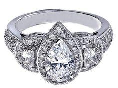 Pear Shape Diamond Vintage Engagement Ring half moon side stones  - ES240PS