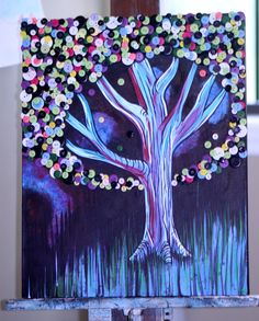 BUTTON TREE Original Button and Acrylic Painting by Ashley Blackwell. $72.00, via Etsy.