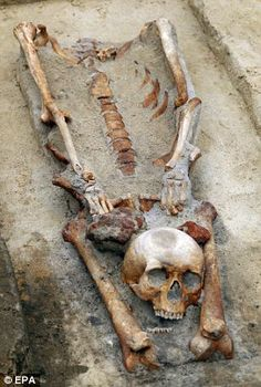Eerie: The team of historians discovered graves containing four skeletons with their heads removed and placed between their legs near the southern town of Gliwice, Poland Vampire History, Creepy, Scary, Vampire Skull, Real Vampires, Archaeological Finds, Mystery Of History, Ancient Mysteries, Skull And Bones