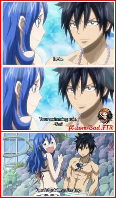 Juvia and Gray. I just noticed that juvia's face and the sun shaped thing in the background have the same expression.