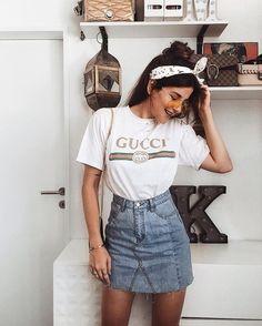 Dicas de como usar saia jeans #jeans #saia #look #skirt