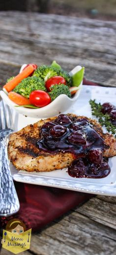 Center Cut Pork Chops with a Cherry Cabernet Glaze - SUPER DUPER EASY cherry wine sauce that would compliment just about any meat you put on the grill.  Step-by-step photos.  <3
