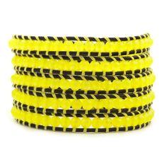 Neon Yellow Wrap Bracelet on Natural Black Leather