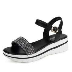 Flat Sandals women/Korean version of the Joker rhinestone sandals/With a buckle women sandals ** Want additional info? Click on the image.