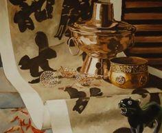 Martwa natura z chilli, Joanna Szumska, obraz olejny, 100 x 82 cm, 2011