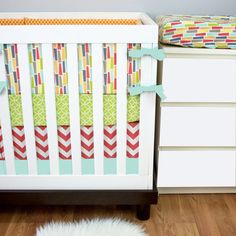 Coral, Orange, Lime, Aqua, Yellow Gender Neutral Crib Bedding, Baby Bedding, Modern Nursery Custom Crib Set by modifiedtot on Etsy https://www.etsy.com/listing/190773107/coral-orange-lime-aqua-yellow-gender