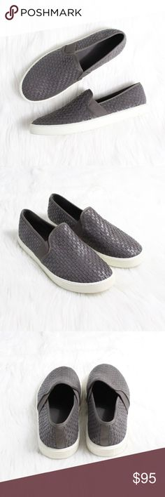 """VINCE Preston' Slip-On Sneaker in Grey Gently used condition, worn only a couple times.  Size: 8 Color: Grey  Woven leather strips lend sweet, country-chic texture to an easy slip-on sneaker. Timeless aesthetics meet modern sophistication in Vince's collections of iconic, wearable essentials—always focusing on distinctive design, enduring style and uncompromising quality.  1"""" platform. Leather upper and lining/rubber sole. By Vince; imported. Vince Shoes Sneakers"""