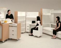 Japanese design studio Atelier OPA developed the Kenchikukagu folding furniture series, which includes a mobile guest room, office station and kitchen. Folding Furniture, Furniture Box, Space Saving Furniture, Unique Furniture, Furniture Design, Compact Furniture, Flexible Furniture, Smart Furniture, Office Furniture