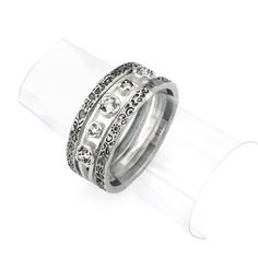Silver Stack Ring With Zircon - catalog