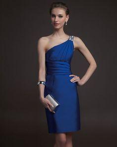 2015 Evening Dresses Blue Short One Shoulder Satin Cocktail Prom Dresses Winter Prom Dresses, 2016 Homecoming Dresses, Mini Prom Dresses, Blue Evening Dresses, Short Dresses, Bridesmaid Dresses, Formal Dresses, Royal Blue Cocktail Dress, Elegant Cocktail Dress