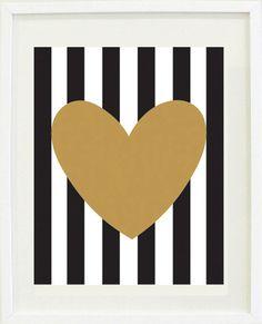 "Print Inspirational: 8 ""X 10, Gold Heart, striped , gift idea, love, Office Decor"