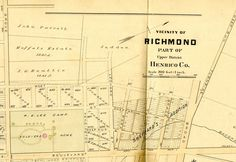 """Image of what became the Devil's Triangle neighborhood from 1889. At this time the area was referred to as """"Sheppard's Addition."""" Only lots, no buildings yet. This image is from """"Atlas of the City of Richmond, Virginia and Vicinity,"""" published in Philadelphia: by G. William Baist, 1889. Notice the Soldier's Home grounds on the left. Also, Leonard Street is now Patterson Ave. and the are of Franklin St. on this map is now Monument Ave."""