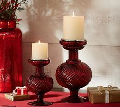Glowing with candlelight, these red mercury glass holders accent a room with rich sparkle. Lantern Candle Holders, Votive Candle Holders, Candle Set, Candle Lanterns, Pillar Candles Bulk, Red Candles, Pottery Barn Style, Mercury Glass, Holiday Essentials