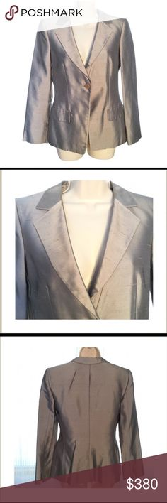 """CLEARANCE  Giorgio Armani Silk Jacket Beautiful Giorgio Armani single breasted jacket. 100% pure silk. US size 4. Front length approx 26"""". Arm length approx 23.5"""". Like new condition. 15% off two items or more. Clearance price is final. Giorgio Armani Jackets & Coats"""