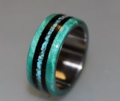 Titanium Ring, Titanium Wedding Band, Teal Box Elder Burl Wood, Turquoise Ring, Ebony Wood Ring