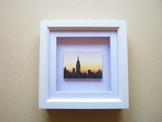 Miniature Framed Landscape Painting, City Skyline at Night Art, New York Silhouette at Sunset, Cityscape, New York Painting, OOAK