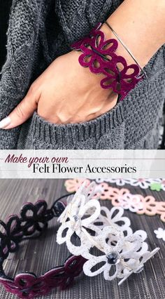 Make your own pretty flower accessories. This DIY 3 in 1 Felt Flower Accessories is simple to create and if you have a Cricut, you can make them in minutes!  Project design by Jen Goode #cricutmade