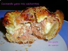 Mini quiches de salmón y mascarpone | Cocinando para mis cachorritos