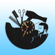 LARGE Barber Shop Wall Clock Wood Hairdressing Hair Salon