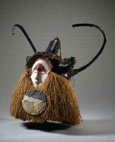 Africa | Yaka mask from the DR Congo | 20th century | Wood, fiber, cloth, pigments, and resin