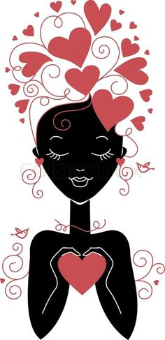 'Girl silhouette with hearts'