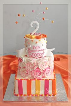 Rosettes and Ribbons Birthday Cake