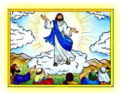 colorful picture of ascension of Jesus into Heaven