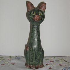 2x Katze 16+31 aus Holz Skulptur Handarbeit Figur Statue Holzkatze Deko Geschenk | eBay