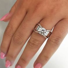Forever classic moissanite ring set white gold SI-H diamond wedding band bridal promise ring oval moissanite engagement ring - Fine Jewelry Ideas Perfect Engagement Ring, Engagement Ring Settings, Thick Band Engagement Ring, Diamond Wedding Bands, Wedding Rings, Diamond Rings, Ruby Rings, Diamond Heart, Fashion Rings