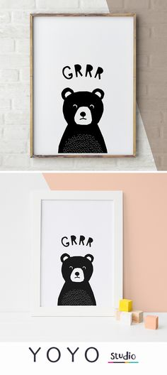 Bear Illustration print. Baby animal print for a boys nursery. Black and White monochrome kids art. Cute grumpy bear.