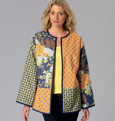65 Ideas Patchwork Jacket Pattern Quilt Blocks For 2019 Silk Jacket, Kimono Jacket, Quilted Jacket, Kimono Pattern, Jacket Pattern, Kwik Sew Patterns, Clothing Patterns, Quilted Clothes, Techniques Couture