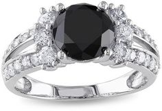 MODERN BRIDE Midnight Black Diamond 2? CT. T.W. White and Color-Enhanced Black Diamond 14K White Gold Engagement Ring - $3,499.99