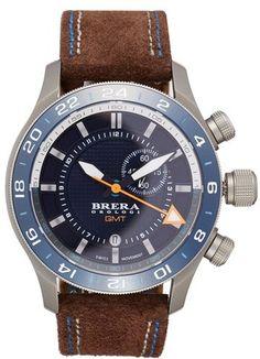 Men's Brera Orologi 'Eterno Gmt' Chronograph Leather Strap Watch, 43Mm