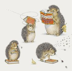 Peter Cross - Hedgies with books.