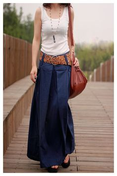 women's dark blue flax Sexy Casual big Pleat big por colorstore2011, $45,99