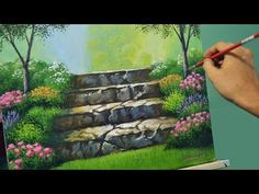 Acrylic Landscape Painting Lesson - Stairway to Flower Garden by JMLisondra - YouTube