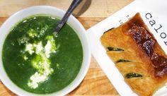 Spinazie-courgette-soep met kruidenroomkaas en een bladerdeeghapje van feta en spinazie