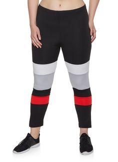 4dd5bb627 Plus Size Color Block Soft Knit Leggings - Black - Size 1X Knit Leggings